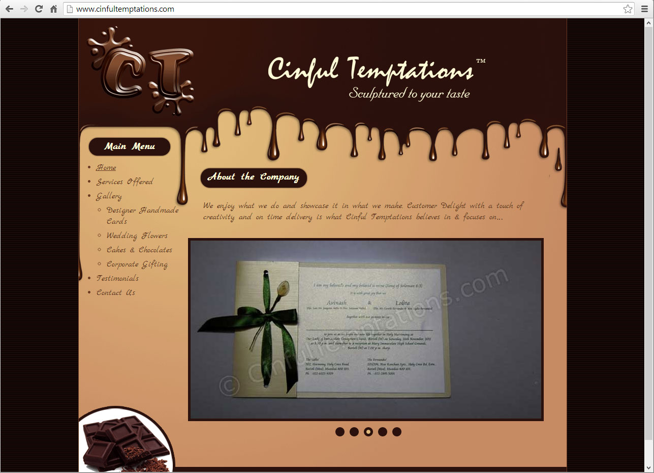 Cinful Temptation (Website powered by Joomla)